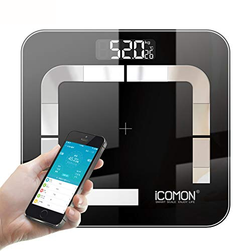 HEHE Hot Icomon I31 Badezimmer Körperfett-Waage Digital LCD Smart-Mi Waagen Boden Bluetooth Menschliches Bmi Gewichtung Skala Body Balance,Schwarz