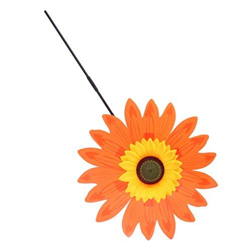 Fenteer DIY Sonnenblume Windmühle Windrad Windspiel aus Stoff Garten Balkon Terrasse Blume Dekoration - Orange (Stoff Windrad)