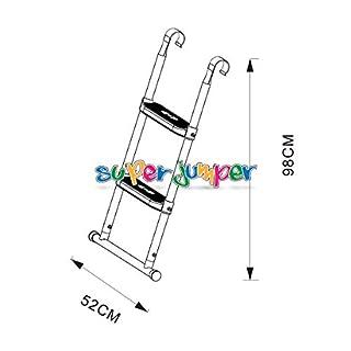 Super Jumper Trampolin Leiter 98 cm   Treppe mit 2 Breiten Stufen 58 cm   praktischer Einstieg für große Gartentrampoline   Weiss   GS und TÜV Rheinland Zertifiziert