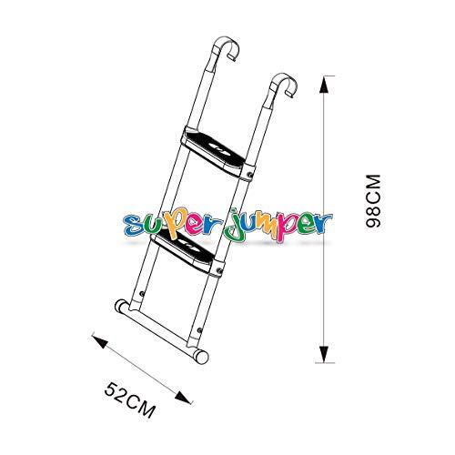 Super Jumper Cama Elástica Escalera 98cm | Escaleras con 2Amplia Niveles 58cm | práctica básico para Grandes Jardín Trampolín | Blanco | GS y TÜV Rheinland Certificado