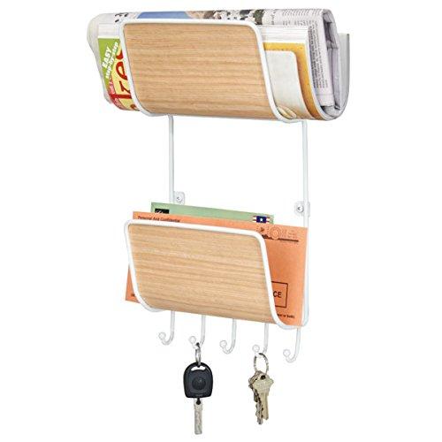 mdesign-support-de-magazines-et-courrier-avec-5-crochets-a-cles-support-mural-blanc-finition-bois-cl