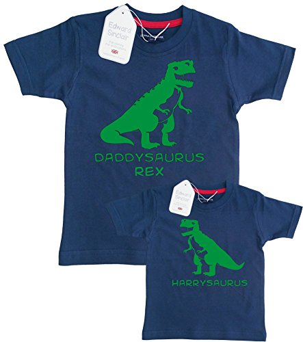 Edward Sinclair Daddysaurus and Personalized -Saurus Adult & Childrens Tshirt Set'