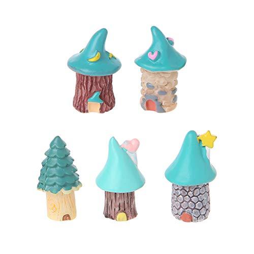 Kofun 1Pc Resin House Fairy Garden Miniatures Micro Cottage Landscape DIY Decorations