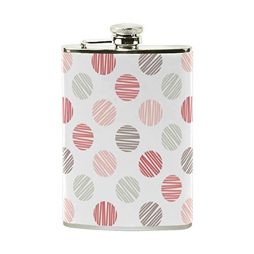 Orediy Petaca con diseño de lunares, en color blanco, de acero inoxidable, con bolsillo, petaca de 8 onzas, portable, envuelta en cuero, bote de vino