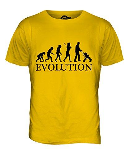 Papa mit Kinderwagen-Evolution of Man Herren T-Shirt Top Dunkelgelb
