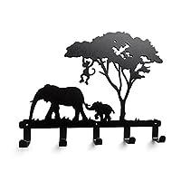 YOURNELOQQW Cute Ironwork Cartoon Characters Animals Art Wall Mounted Decorative Coat Rack Hooks (Elephant)