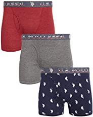 U.S. Polo Assn. Men's Cotton Boxer Briefs Underwear with Functional Fly (3 P