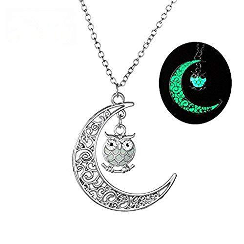 Da.Wa Luminous Serie Eule Mond Halskette Fluoreszierende Halskette Glühen in der Dunkelheit (Grün) (Halsketten Glühen Grün,)