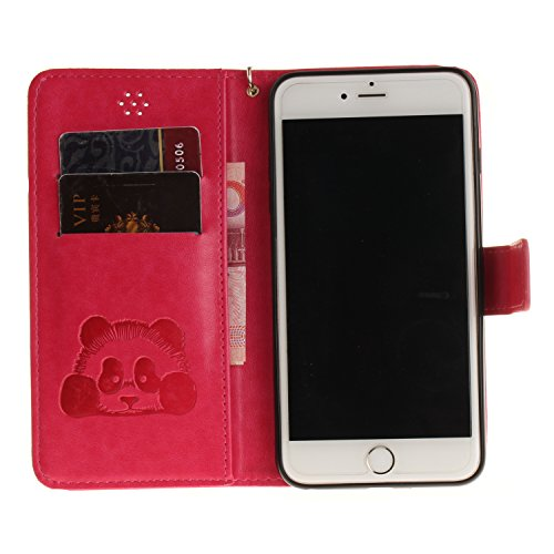 PU Cuir Coque Strass Case Etui Coque étui de portefeuille protection Coque Case Cas Cuir Swag gaufrage Panda Pour Apple iPhone 6 (4.7 pouces) +Bouchons de poussière (3XM) 7