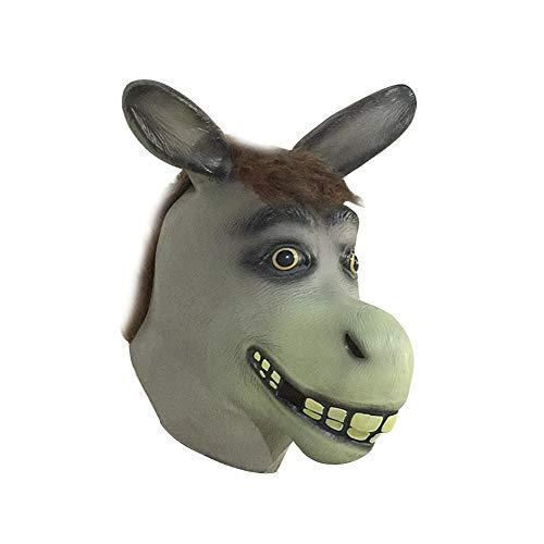 Sherineo Halloween Maske, Latex Masken Tiermaske, Kostüm Halloween Kostümzubehör Lustige Maske - Lustige Esel Kostüm