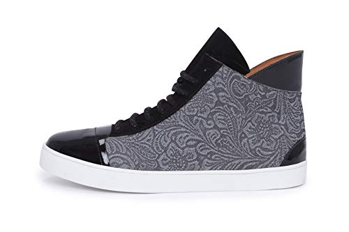 tiefel Sneakers Schnürsenkel Schwarzes Lackleder und Denim ()