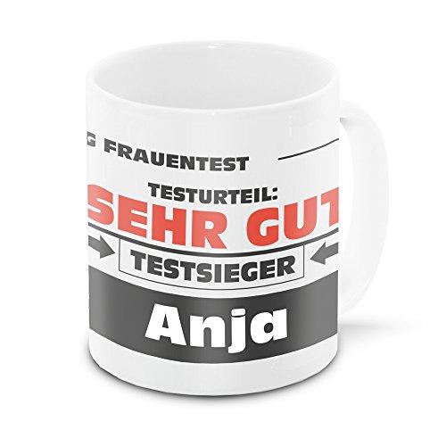 Namens-Tasse Anja mit Motiv Stiftung Frauentest, weiss   Freundschafts-Tasse - Namens-Tasse