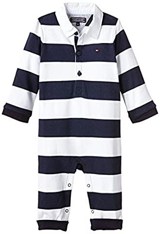 Tommy Hilfiger Baby - Jungen Spieler RUGBY BABY BOY COVERALL L/S, Gr. 68, Mehrfarbig (BLACK IRIS 002)