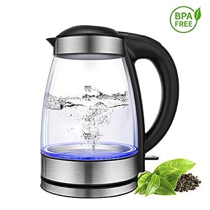 CUSIBOX-Glas-Wasserkocher-17-Liter-Edelstahl-Wasserkessel-Teekocher-2200W-Elektrische-Kanne-mit-LED-Beleuchtung-Automatische-Abschaltung-berhitzungsschutz-Trockenlaufschutz-BPA-frei