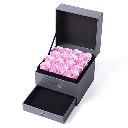 AOFOX 16 Sapone da Bagno Fiore di Rosa, Fiore profumato con Set di Gioielli, Confezione Regalo per San Valentino / Festa della Mamma (Rosa)