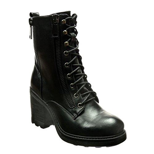 Angkorly-Zapatillas-de-Moda-Botines-altas-botas-militares-biker-motociclistas-mujer-cordones-cremallera-Taln-Tacn-ancho-alto-9-CM-Negro