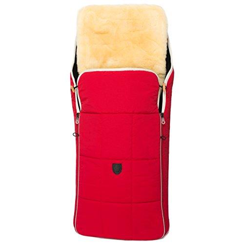 Lammfell Kinderwagen-Fußsack CHRIST – Thermo Lammfellfußsack, Winterfußsack mit herausnehmbarem, medizinischem Fell, als Einlage für Buggy verwendbar (2-in-1) in beige, grau, blau, schwarz, rot, braun