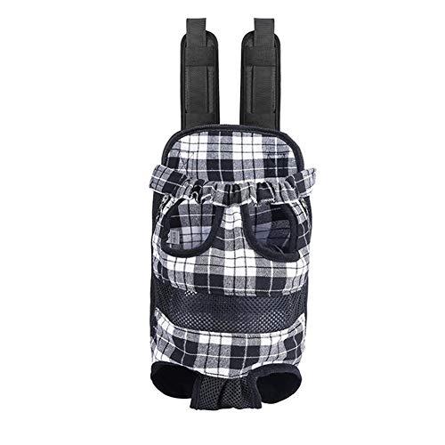 Plaid Dog Tasche Pet Carrier Mesh Breathable Chest Pack Hündchen Rucksack Reisen Tragen Katze Hund Träger Taschen Für Kleine Hunde (Color : Black, Size : XL) (Mesh-plaid-rucksack)