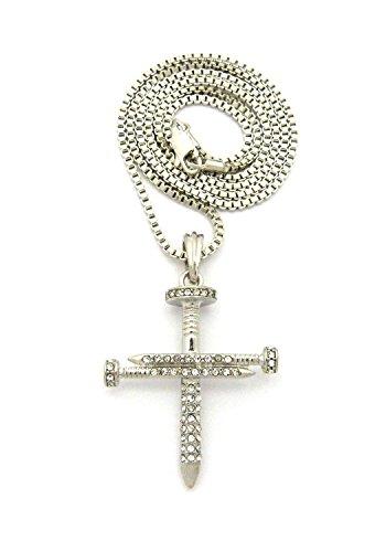 Halskette in Silberton mit Kreuz Anhänger aus strassbesetzten Nägeln mit 2mm 61cm Box Kette (Kreuz Nageln 3)