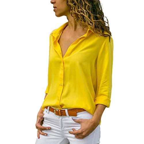 ✿✿JiaMeng Baggy Chiffon Outdoor Langarmshirts Damen Gemütlich bunt Bluse Mode Sport Oberteile Büro weich Button ()