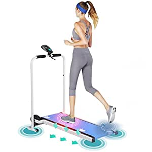 Homgrace Treadmill Incline Folding Running Machine Home Fitness Equipment Trainer With LCD Display Low Noise Easy Assembly (blue/white)