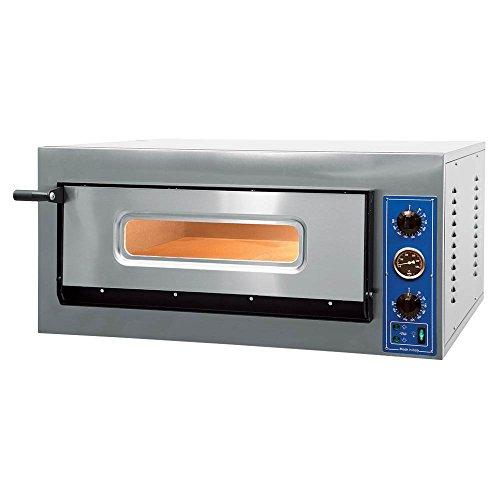 GGF Pizzaofen mit zwei Kammern 1010 x 850 x 420 mm 6 kW 400 V aus pulverbeschichtetem Stahl Schamottboden Kammerbeleuchtung Entlüftungskamin