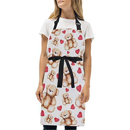 Wamika Schürze, Cartoon-Design Teddybär, verstellbar, für Zuhause, Küche, Grillen, Kaffee, Rot, Herz, Tier, wasserfest, mit Taschen für Frauen und Herren
