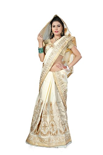 S. Kiran's Women's Cream Art Silk Mekhela Chador - Mekhla Sador