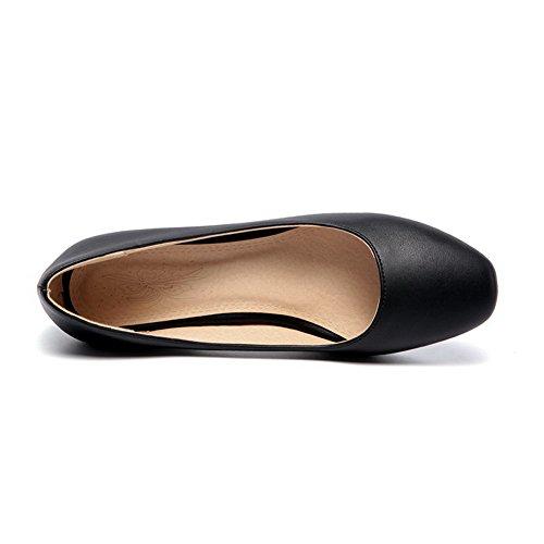AgooLar Femme à Talon Correct Couleur Unie Tire Matière Mélangee Carré Chaussures Légeres Noir