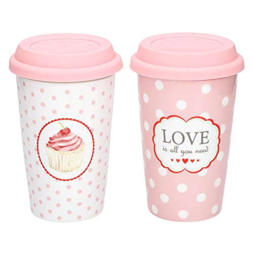 Krasilnikoff 2er Set Coffee to Go Kaffee-Becher Love is All + Cupcake-Dekor 350 ml für Unterwegs Porzellan-Tassen Retro-Geschirr rosa mit Punkten 60er-Jahre