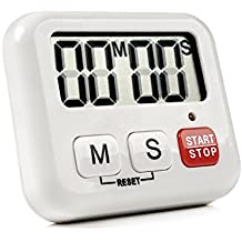 Temporizador de Cocina Digital con Pantalla LCD y Sistema de Alarma, Imán, Base Retráctil, Gancho para Colgado ( Blanco ) - SLAGO