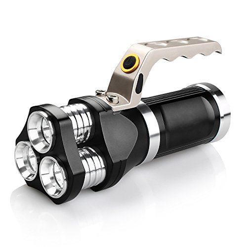 Ricaricabile 2400 Lu Super LED Luminoso Searchlight Spotlight Torcia Flashlight Lanterna, Durevole Lega di alluminio materiale, 3 modalità di illuminazione, Con 3 x 18650 Batterie (Nero)