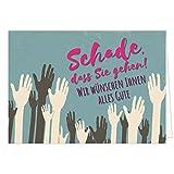 Große Abschiedskarte XXL (A4) Schade, dass Sie gehen - Hände mit Umschlag/Edle Design Klappkarte/Rente / Pension/Ruhestand / Verabschiedung/Letzter Arbeitstag/Gruß-Karte für Kollegen