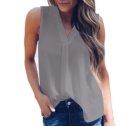 ESAILQ Damen Rundhals Kurzarm T-Shirt Tops mit Allover Anker Print Frauen Casual Druck T-Shirt(L,Grau)