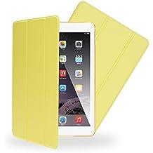 Apple iPad Air 2 Funda Smart-Case de NICA, Carcasa Ultra-Fina Protectora Plegable con Cuero Sintetico Vegan, Bumper Cover Doble Protección Cubierta con Trifold Stand para Tablet Movil - Amarillo Verde