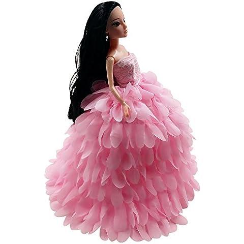 Creation® Precioso encaje hecho a mano del vestido de la ropa original para Barbies muñeca (rosa)