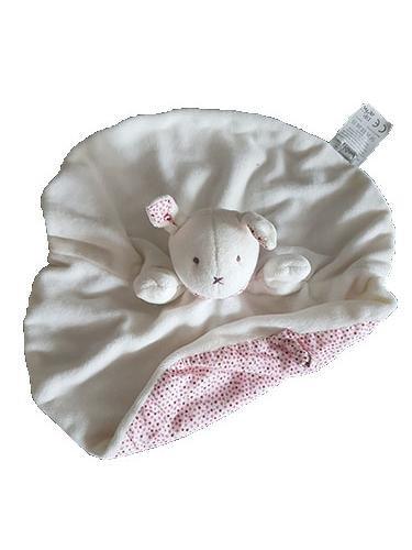 DPAM - Doudou DPAM Lapin plat rond blanc dos pois rouge - 8579