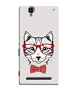 Sony Xperia T2 Ultra, Sony Xperia T2 Ultra Dual SIM D5322, Sony Xperia T2 Ultra XM50h Back Cover Hand Drawn Portrait Of A Fashion Cat Design From FUSON