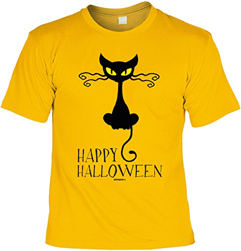 Halloween T-Shirt - coole Sprüche / Motive - Kostüm Halloweenparty : Happy Halloween Cat -- Halloweenshirt schwarze Katze Gr: (Cool Kostüme Cat Erwachsene Für)