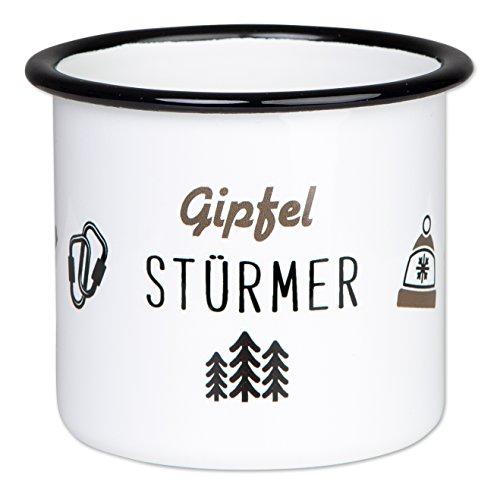 GIPFELSTÜRMER - Hochwertige Emaille Tasse mit Outdoor Design, Leicht und bruchsicher, für Klettern, Trekking und Camping- von tassenWERK.com