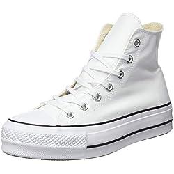 Converse Chuck Taylor CTAS Lift Hi, Zapatillas para Mujer, Blanco Black/White 102, 40 EU