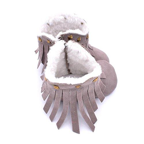 Chaussures de bébé,Transer ® Infantile pour bébé doux seule neige bottes Crib chaussures Toddler Tassel Rivet Gris
