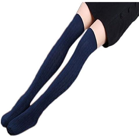 Tongshi 1 par de algodón de las mujeres de punto largo de la rodilla media espiral calcetines