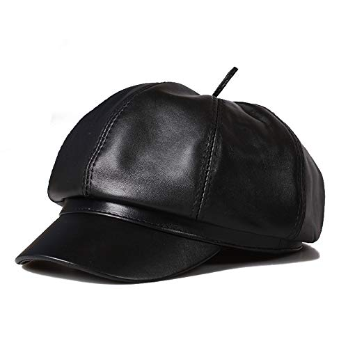 Ying xinguang Damen breiter Krempe Beret Cap Vintage Leder Newsboy Hut für Damen ! (Farbe : Schwarz, Größe : XL) -