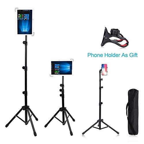 Tablet-Ständer für iPad/iPad Air/iPad Mini/Samsung Galaxy Tab / 7-12 Zoll Tablets, Winkel und Höhe verstellbar, Tragetasche im Lieferumfang enthalten, verstellbare Höhe 55 cm bis 150 cm