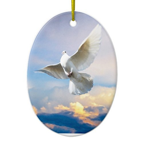 Ornament Handwerk für Kinder weiß Dove in Flight Oval Xmas Tree Ornament Deko für Home
