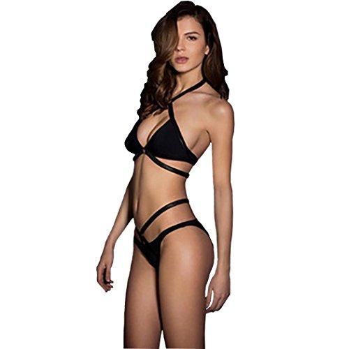 2017 Maillot de Bain, Xinan Femmes Swimwear Bikini Set Sexy Bandage Push-Up Padded Bra Beachwear Noir