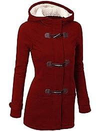GHYUGR Femmes Manteaux à Capuche Bouton Corne Blouson Veste Jacket Chaud Épais Hoodie Hoody Outwear Automne Hiver Slim Fit