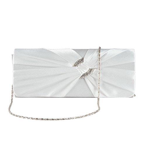 Damen Abendtasche Clutch Falten Strass Satin Tasche Handtasche Brauttasche Hochzeit Weiß