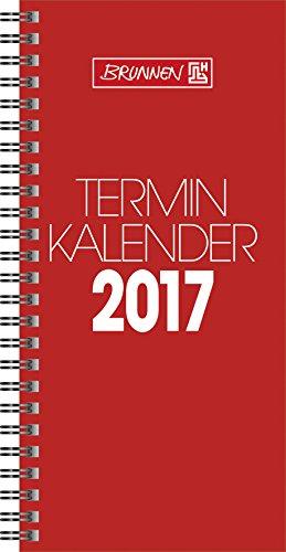 Brunnen Modell 780 (1078001) Tischkalender/Vormerkbuch (2 Seiten = 1 Woche, 100 x 207 mm, Karton-Umschlag, Kalendarium 2017, Wire-O-Bindung) rot